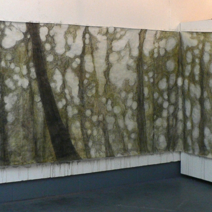 forest immersion || 2009 || ink, watercolor and graphite on paper || ~15' x 5'