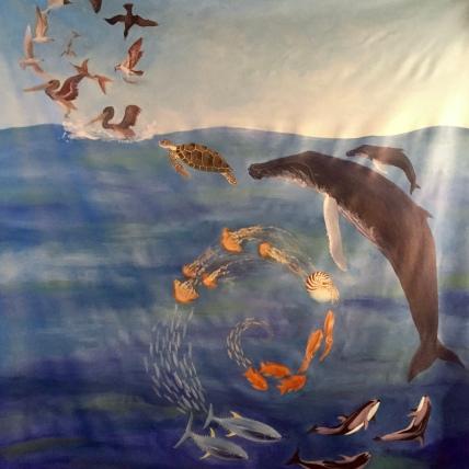 ocean mural, acrylic on canvas, 5'x4', 2017
