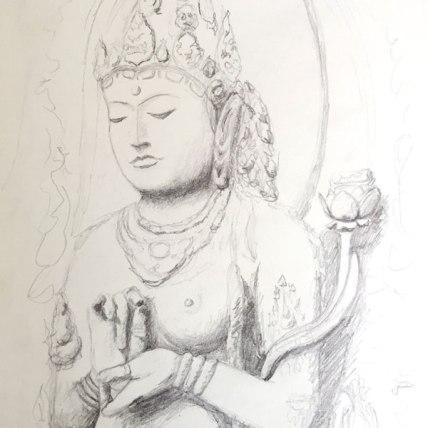 "prajna paramita//mother of all buddhas || 2015 || graphite on paper || 9 x 12"""
