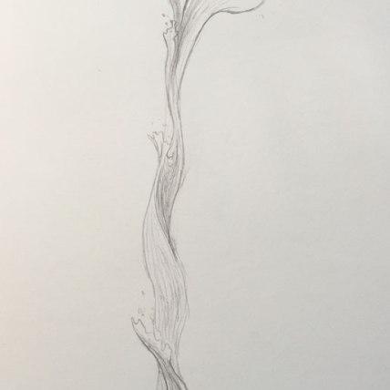 "water stream || 2015 || graphite on paper || 9 x 12"""