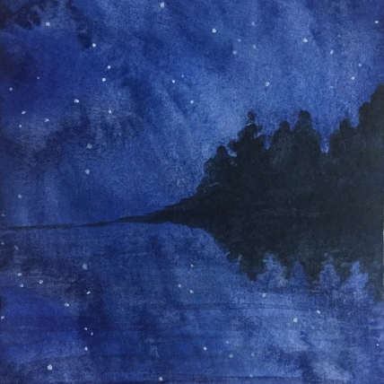 """watery stars"", watercolor on paper, 2018, 6""x8"""